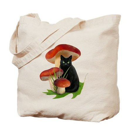 Black Cat Red Mushrooms Tote Bag by catsclips