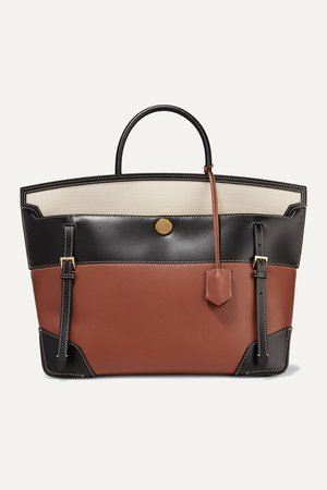 Brown Buckle-embellished canvas and leather tote | Burberry | NET-A-PORTER