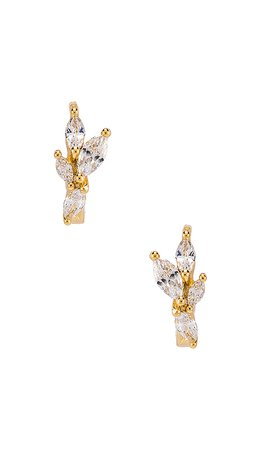gorjana Lena Huggie Earrings in White CZ & Gold | REVOLVE