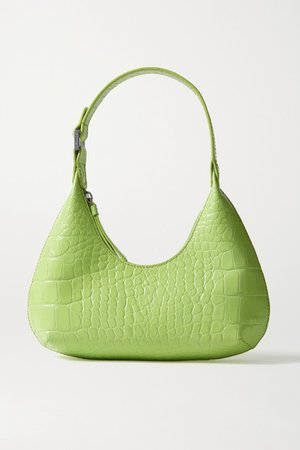 Amber Baby Croc-effect Leather Tote - Light green