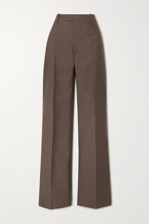 Brown Wool wide-leg pants | Bottega Veneta | NET-A-PORTER
