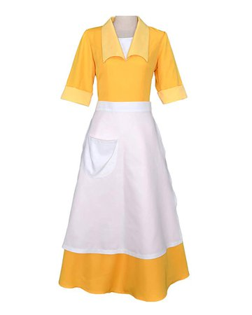 Cosplay.fm Women's Yellow Waitress Dress Housemaid Cosplay Costume Halloween