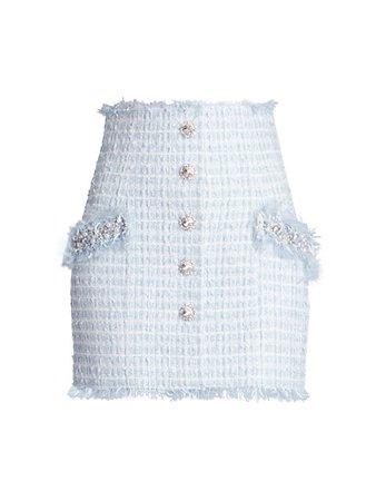 Balmain Buttoned Embellished High-Waist Skirt