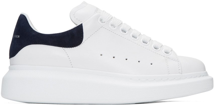 Alexander McQueen White & Navy Oversized Sneakers women,alexander mcqueen shoes size,beautiful in colors, alexander mcqueen puma high top sneakers officially authorized