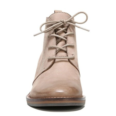 Taupe Short Boots Round Toe Lace up Wooden Block Heel Ankle Boots for Work, School, Ball, Date, Anniversary, Going out | FSJ