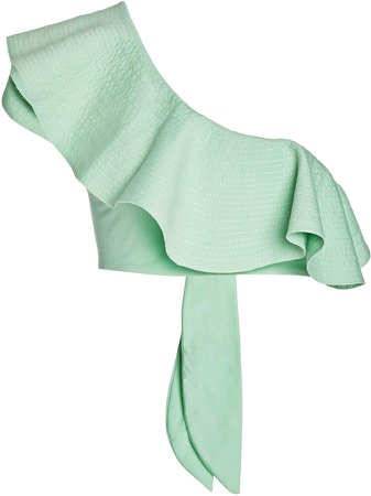 Mint Cabana One-Shoulder Bikini Top