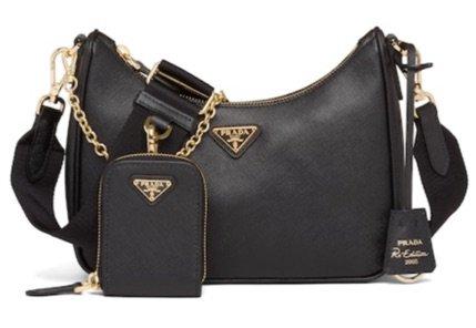 black and gold Prada bag