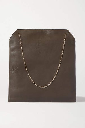 Lunch Bag Leather Tote - Dark green