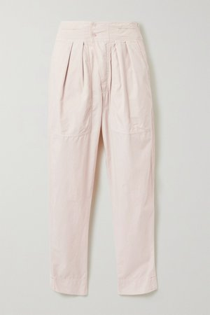 Pastel pink Mariz pleated cotton tapered pants | Isabel Marant Étoile | NET-A-PORTER