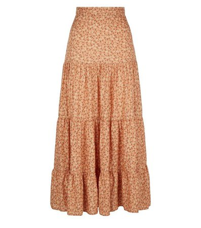Brown Floral Tiered Midi Skirt | New Look