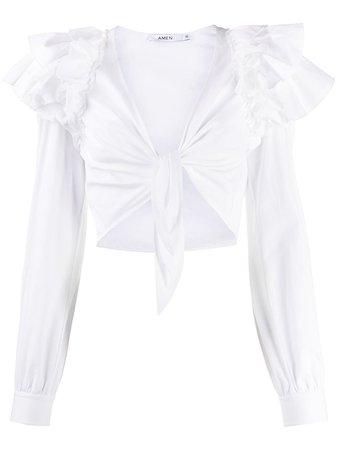 Amen Ruffled tie-front Cropped Blouse - Farfetch