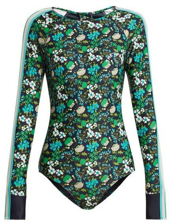 Floral Print Performance Paddle Suit - Womens - Navy Print