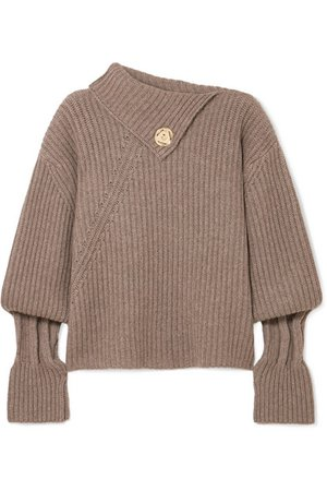 JW Anderson | Embellished ribbed wool and cashmere-blend turtleneck sweater | NET-A-PORTER.COM
