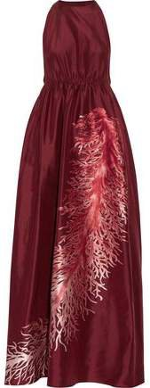 Gathered Embroidered Silk-faille Gown
