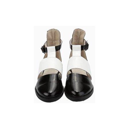 Black&White Patent Cut Out Flat Shoe