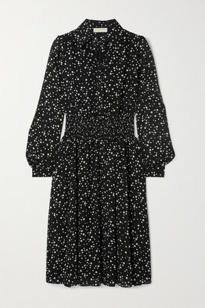 Shirred Polka-dot Georgette Dress - Black