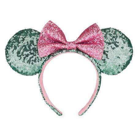 Minnie Mouse Ear Headband - Mint and Pink Sequins | shopDisney