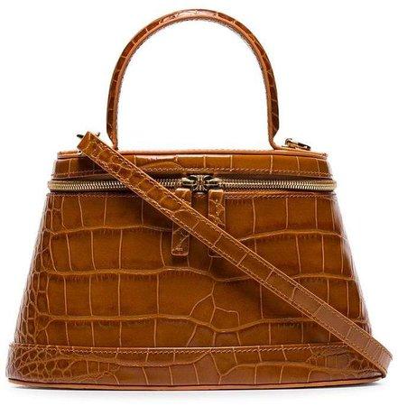 BY FAR brown Annie croc print leather box bag