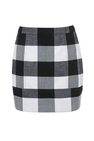 'Outcome' Black and White Check Wool Mix Mini Skirt