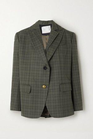 Dark green Layered checked wool-blend and cotton blazer | Sacai | NET-A-PORTER