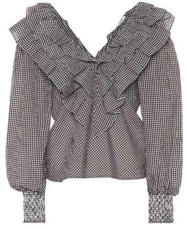 GANNI Charron gingham cotton-blend blouse