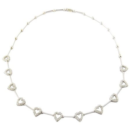 Vintage 18 Karat White Gold Diamond Heart Necklace : Gold and Silver Brokers | Ruby Lane