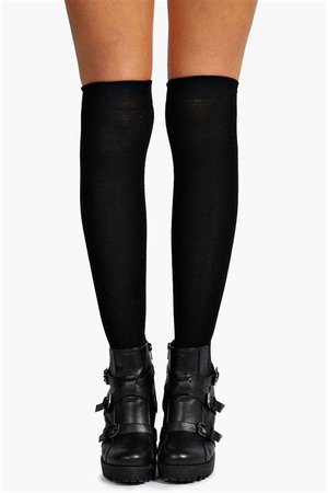 knee high black socks with buckle boots