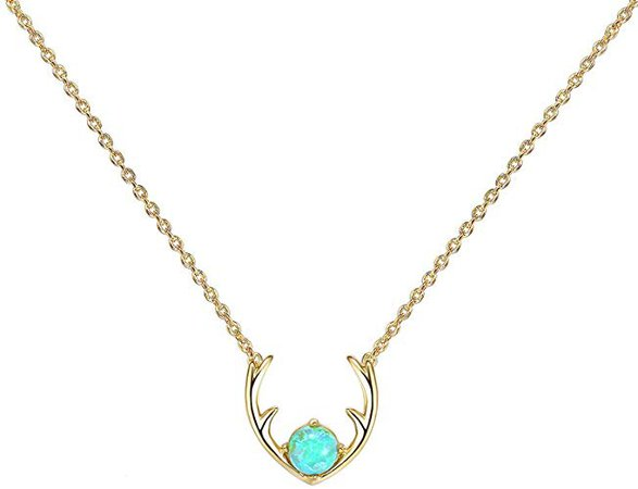 """Amazon.com: PAVOI 14K Rose Gold Plated White Opal Deer Antler Necklace 16-18"""": Jewelry"""