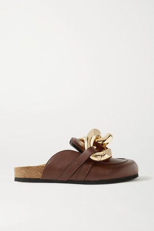 Chain-embellished Leather Slippers - Dark brown