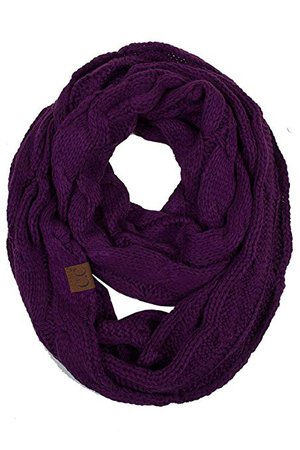 ScarvesMe Chunky Knitted Scarf (Dark Purple) at Amazon Women's Clothing store: