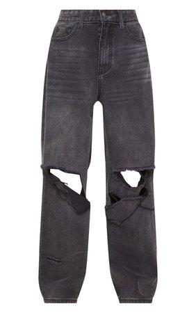 Mid Wash Baggy Low Rise Boyfriend Jeans   PrettyLittleThing