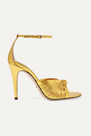 Gold Crawford knotted metallic leather sandals | Gucci | NET-A-PORTER