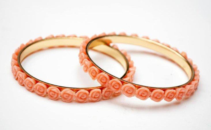 Pink flower bangles lot of two bracelet pink plastic rose   Etsy