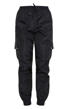 Black Shell Pocket Detail Cargo Trouser | PrettyLittleThing