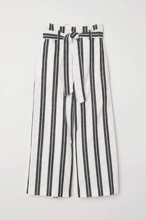 Wide-leg Cotton Pants - White
