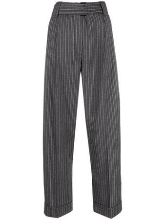 GANNI Pantalon Rayé à Taille Haute