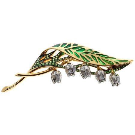 Enamel Tsavorite Diamond 18 Karat Yellow Gold Lilly of Valley Brooch For Sale at 1stdibs