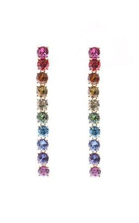 Vertical Crystal Drop Earrings By Oscar De La Renta | Moda Operandi
