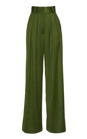 Wide-Leg Wool Satin Faille Pants By Brandon Maxwell   Moda Operandi