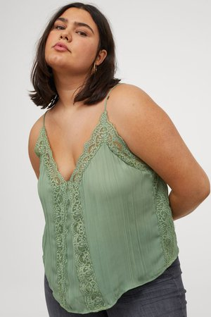H&M+ Lace-trimmed Camisole Top - Green - Ladies   H&M US