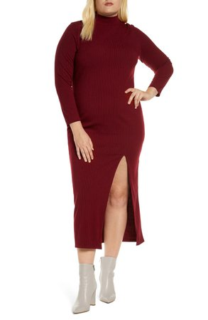 ELOQUII Ribbed Mock Neck Long Sleeve Dress (Plus Size) | Nordstrom