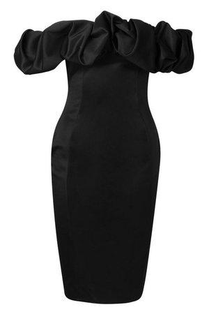 Recycled Scrunched Bardot Midi Dress | Boohoo black