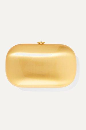 Gold Elina Plus satin and 18-karat gold-plated aerospace aluminum clutch | Jeffrey Levinson | NET-A-PORTER
