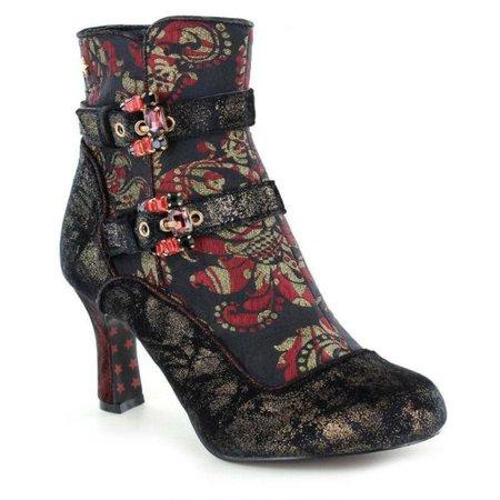 Joe Browns Victoria Black Ruby Red Brocade Gothic Steampunk Victorian LARP Boots   eBay