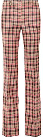 Checked Wool Flared Pants - Pink