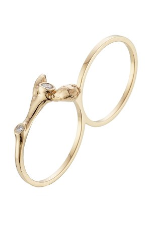 Arbre 18kt Yellow Gold Double ring with White Diamonds Gr. One Size
