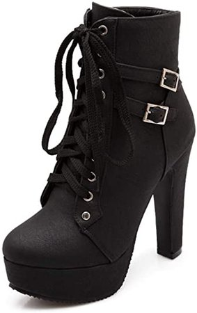 Amazon.com   Susanny Women Autumn Round Toe Lace Up Ankle Buckle Chunky High Heel Platform Knight Black Martin Boots 7.5 B (M) US (CN Size_40)   Ankle & Bootie