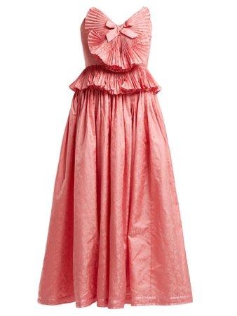 Robe de soirée en jacquard de soie à détail plissé | Gucci | MATCHESFASHION.COM FR