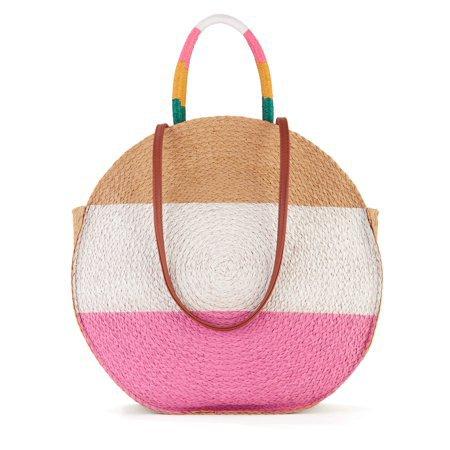 Time and Tru - Time & Tru Striped Straw Circle Tote Bag with Inner Slip Pocket - Walmart.com beige