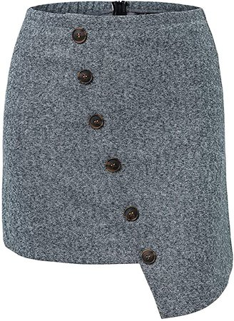 BerryGo Women's Casual High Waist Button Up Asymmetrical Pencil Mini Skirt Light Gray